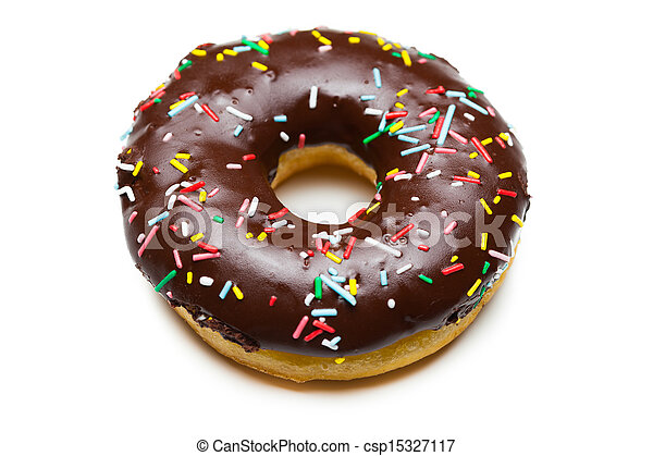 bianco, saporito, isolato, donut, cioccolato - csp15327117