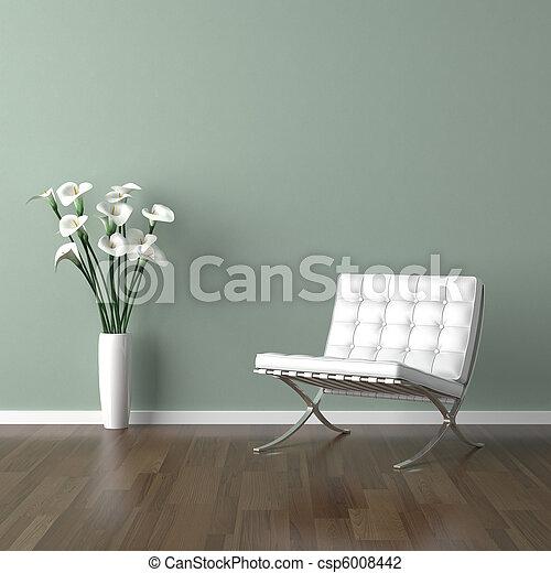 bianco, sedia verde, barcellona - csp6008442