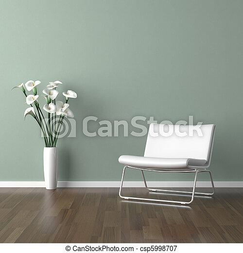bianco, sedia verde, barcellona - csp5998707