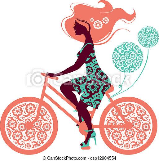 bicicletta, ragazza, silhouette, bello - csp12904554