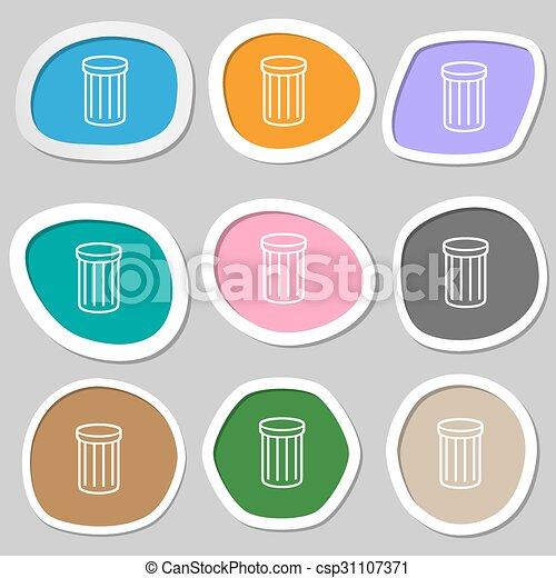bidone, vettore, segno, simbolo., variopinto, carta, riciclare, icon., stickers. - csp31107371