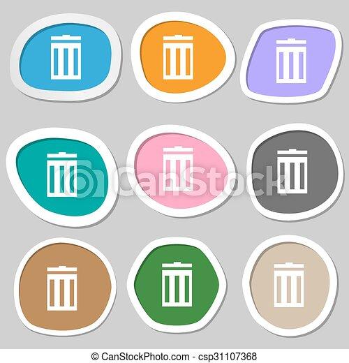 bidone, vettore, segno, simbolo., variopinto, carta, riciclare, icon., stickers. - csp31107368