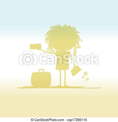 biglietti, turista, disegno, valigia, tuo, felice - csp17266116