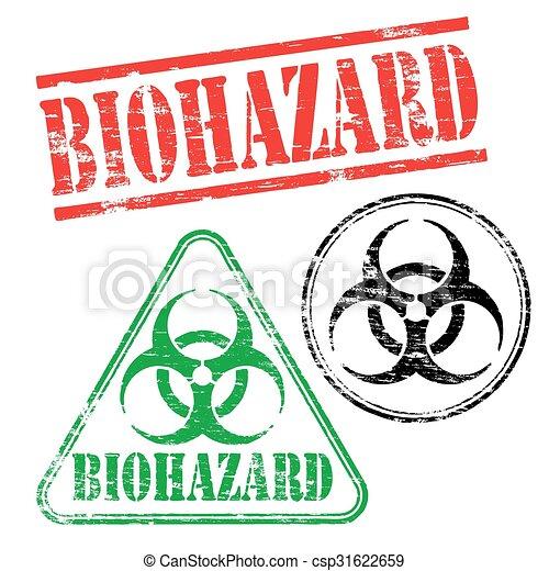biohazard, francobolli, gomma - csp31622659