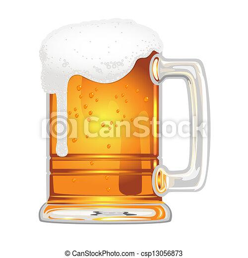 birra, vescica, boccale vetro, bianco - csp13056873