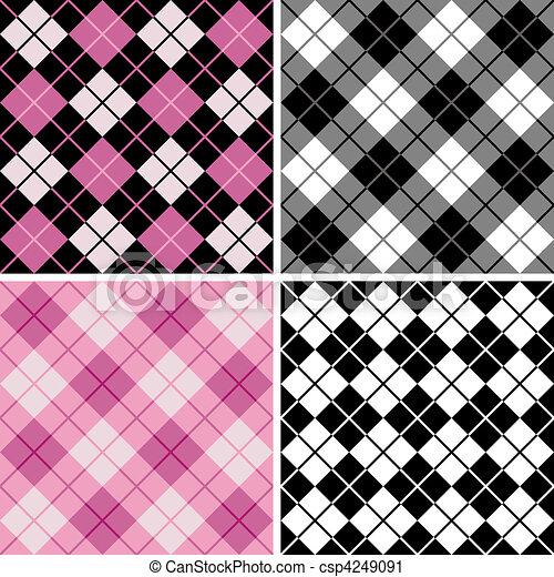 black-pink, argyle-plaid, modello - csp4249091