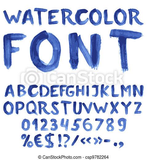 blu, acquarello, scritto mano, alfabeto - csp9782264