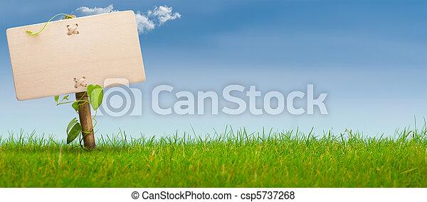 blu, bandiera, segno, cielo, verde, orizzontale - csp5737268