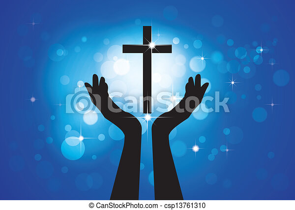 blu, cerchi, concetto, cristiano, fedele, santo, gesù, -, croce, fondo, figlio, persona, grafico, vettore, devoto, stelle, pregare, worshiping, o, lord(christ) - csp13761310