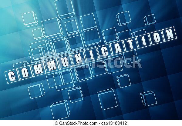 blu, comunicazione, cubi, vetro - csp13183412