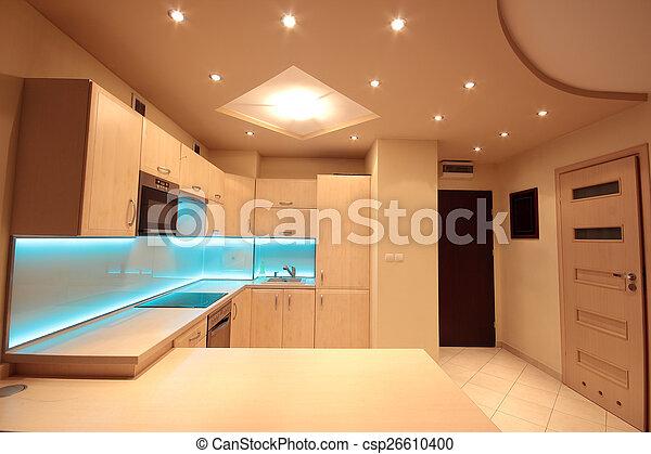 blu, condotto, moderno, illuminazione, lusso, cucina - csp26610400