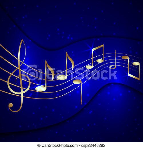 blu, dorato, astratto, doga, musicale, vettore, fondo, chiave, note, triplo - csp22448292