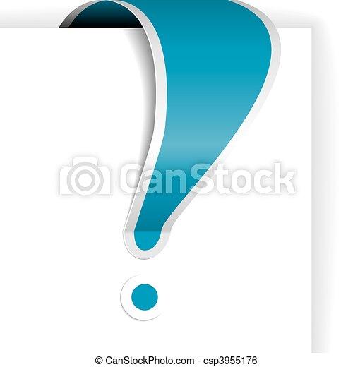 blu, esclamazione, bianco, bordo, marchio - csp3955176