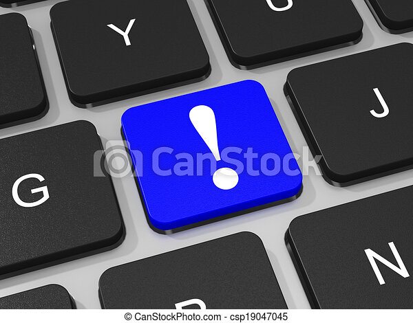 blu, esclamazione, computer., laptop, marchio, chiave, tastiera - csp19047045