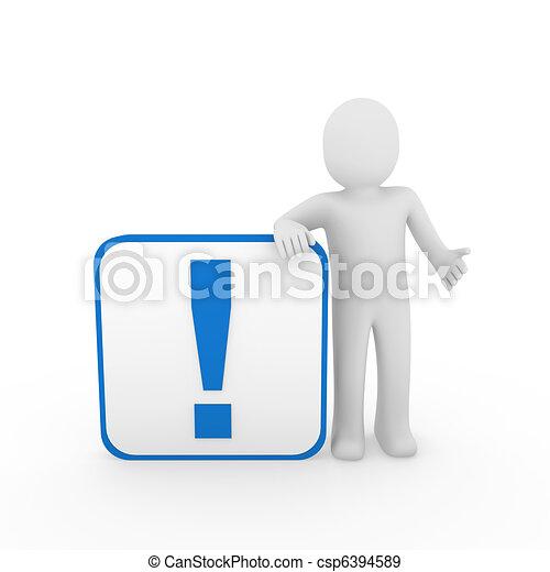 blu, esclamazione, cubo, marchio, uomo, umano, 3d - csp6394589
