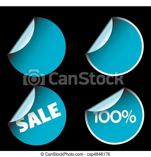 blu, etichette, rotondo - csp4846176