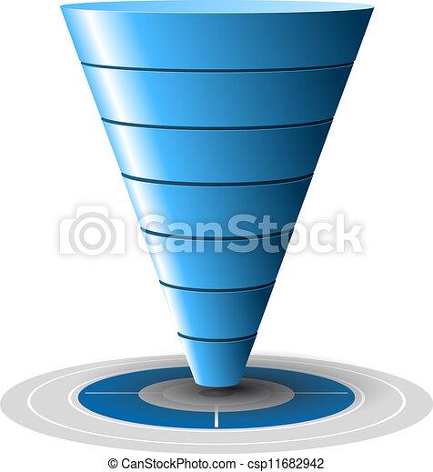 blu, facilmente, conversione, vendite, bersaglio, livelli, customizable, 1, tones., vettore, più, 7, graphics., imbuto, o - csp11682942