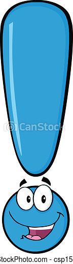 blu, felice, punto esclamativo - csp15356401