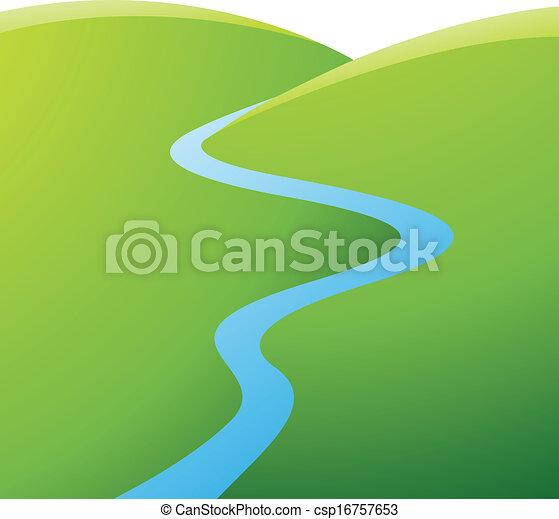 blu, fiume, colline verdi - csp16757653