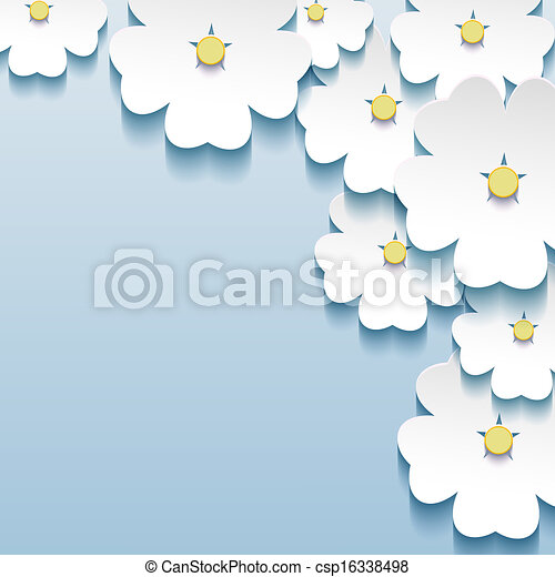 blu, grigio, astratto, -, fondo, sakura, floreale, fiori, 3d - csp16338498