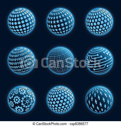 blu, icone, set., pianeta - csp8386577
