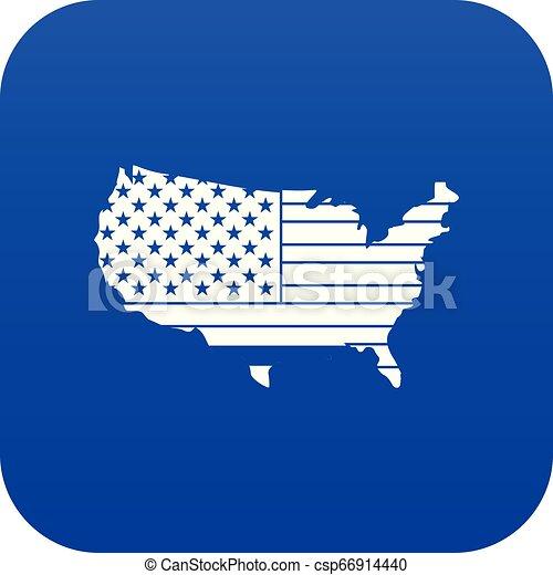 blu, mappa, icona americana, digitale - csp66914440