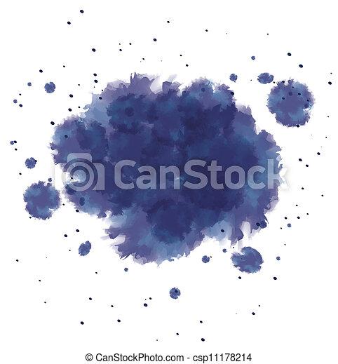 blu, schizzi, acquarello, scuro, inchiostro - csp11178214