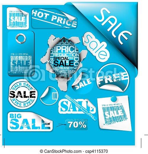 blu, ..., set, etichette, vendita, biglietti, francobolli - csp4115370