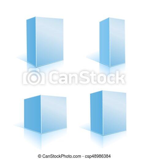 blu, set, illustrazione, scatole, vettore, white. - csp48986384