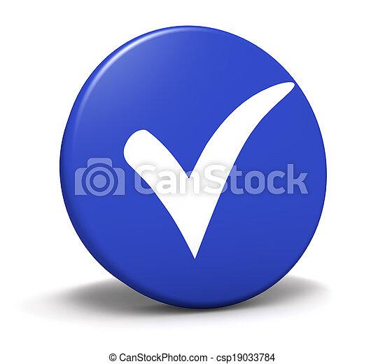 blu, simbolo, assegno, bottone, marchio - csp19033784