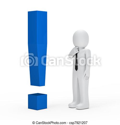 blu, uomo affari, punto esclamativo - csp7921207