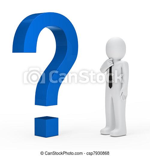 blu, uomo affari, punto interrogativo - csp7930868