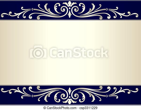 blu, vendemmia, rotolo, sfondo beige, argento - csp3311229