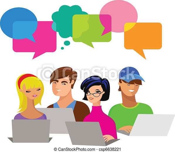 bolle, computer, discorso, giovani persone - csp6638221