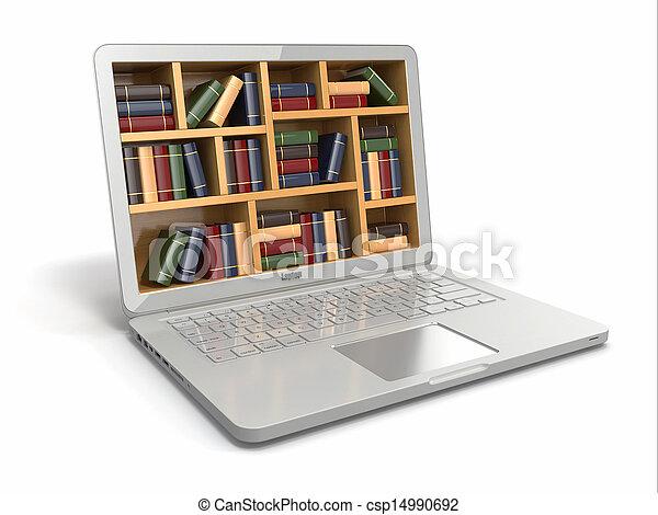 books., library., o, internet, e-imparando, educazione, laptop - csp14990692