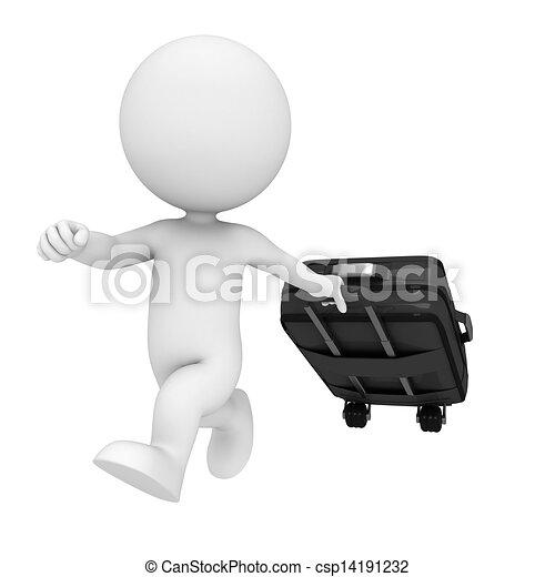 borsa, bianco, 3d, viaggiare, persone - csp14191232