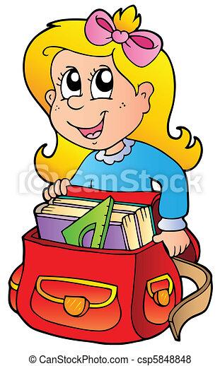 borsa, ragazza, cartone animato, scuola - csp5848848
