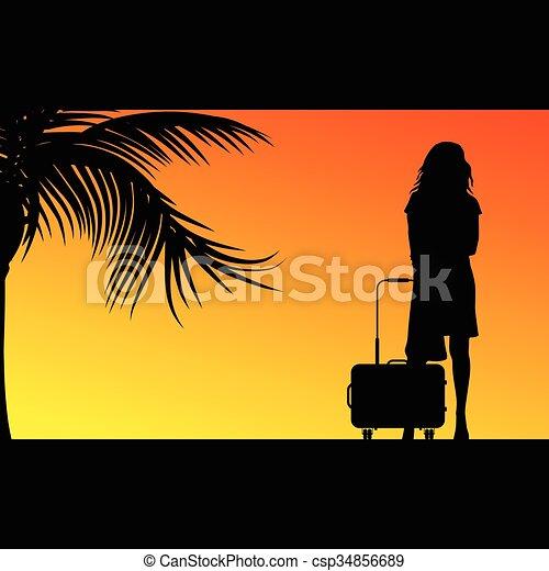 borsa, ragazza, viaggiare, illustrazione - csp34856689