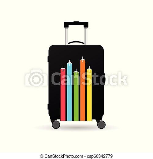 borsa, viaggiare, aeroplano, esso, illustrazione - csp60342779