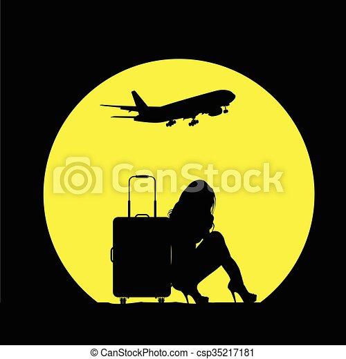 borsa, viaggiare, aeroplano, ragazza, illustrazione - csp35217181