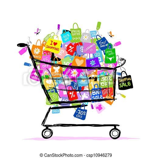 borse, concetto, shopping, grande, vendita, disegno, cesto, tuo - csp10946279