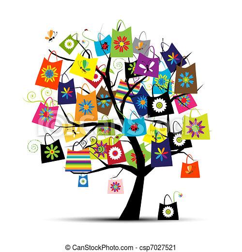 borse, disegno, shopping, tuo, albero - csp7027521