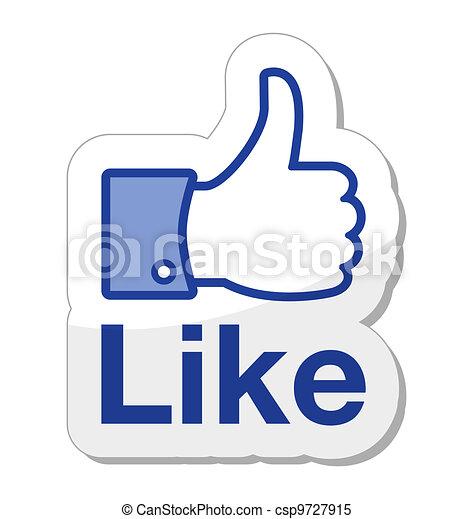 bottone, facebook, esso, come - csp9727915