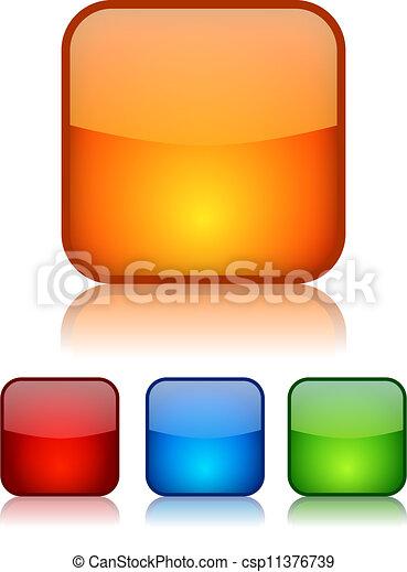 bottoni, vettore, quadrato, vetroso - csp11376739