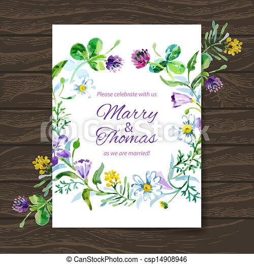 bouquet., acquarello, vettore, fondo, invito, floreale, matrimonio, scheda - csp14908946