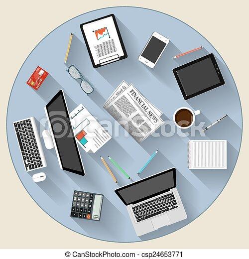 brainstorming, lavoro squadra, disegno, moderno, concetto, appartamento - csp24653771