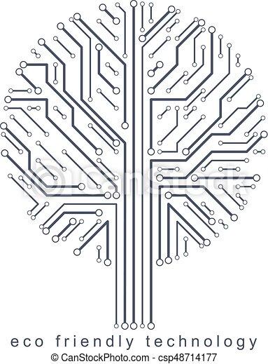 branches., creato, eco, linee, concept., wireframe, albero, illustrazione, vettore, collegato, tecnologia, amichevole - csp48714177
