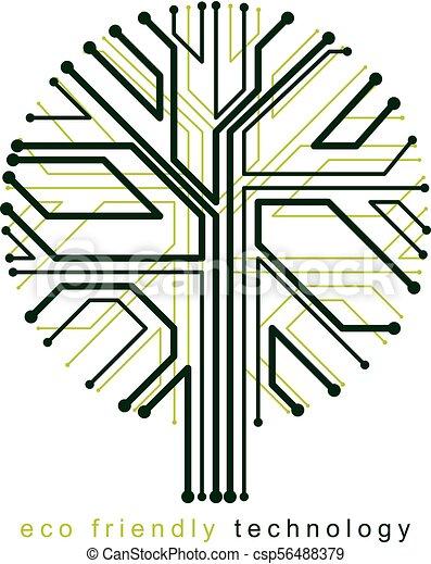 branches., creato, eco, linee, concept., wireframe, albero, illustrazione, vettore, collegato, tecnologia, amichevole - csp56488379