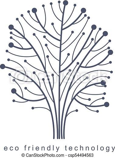 branches., creato, eco, linee, concept., wireframe, albero, illustrazione, vettore, collegato, tecnologia, amichevole - csp54494563