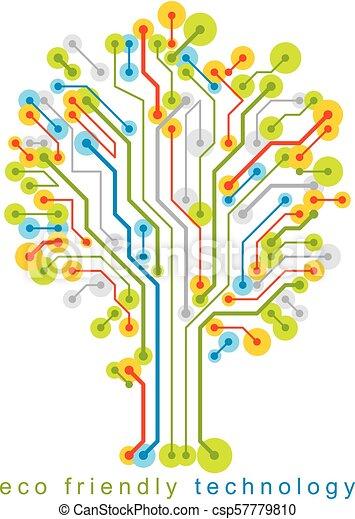 branches., creato, eco, linee, concept., wireframe, albero, illustrazione, vettore, collegato, tecnologia, amichevole - csp57779810